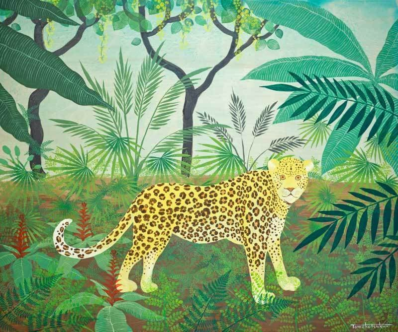 Leopard in the jungle 109.5×91.5(㎝) シナベニヤ、アクリル